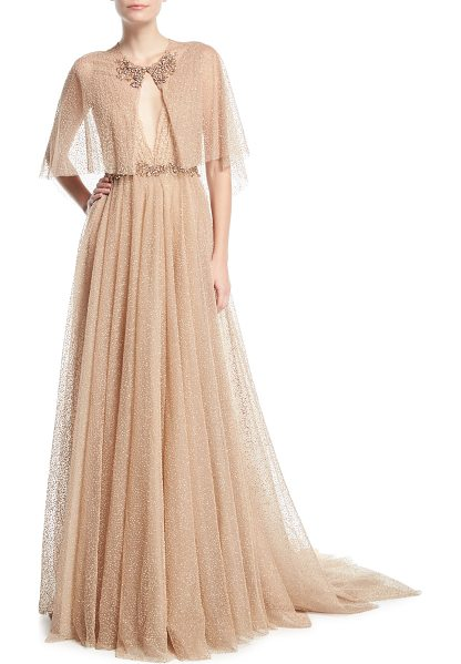 MARCHESA Plunging Evening Ball Gown with Beaded Waist and Cape - Marchesa evening gown in glitter-flocked tulle....