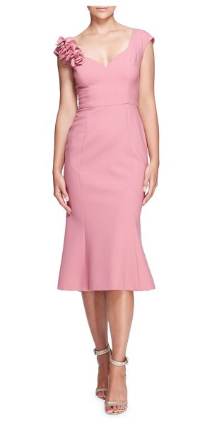 Marchesa rouched floral sheath dress in dusty pink