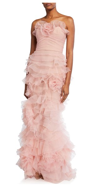 Marchesa Ruffled Tulle Column Gown in blush