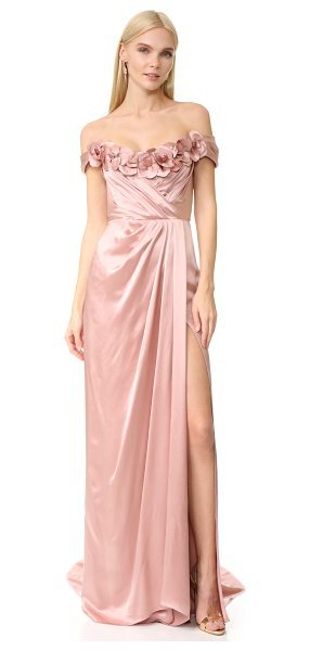 MARCHESA satin gown - Graceful petals trim the off shoulder neckline on this...