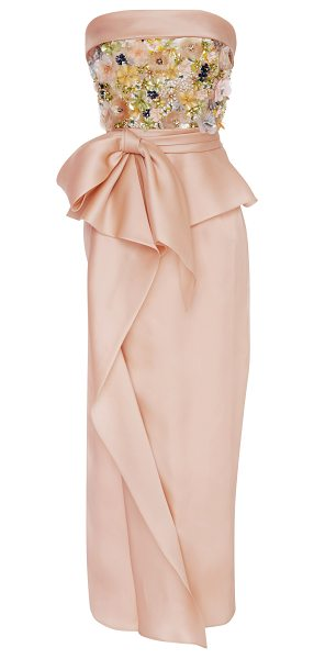 Marchesa Sequin Embroidered Tea Length Dress in pink - Rendered in silk this *Marchesa* dress features a...