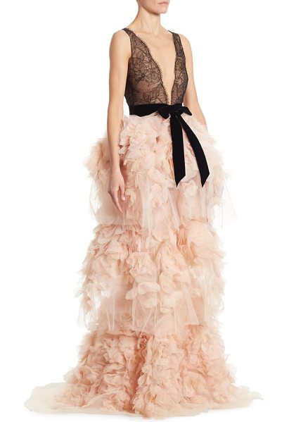 Marchesa chantilly lace gown in blush - Chantilly lace gown with dramatic tiered ruffle skirt....