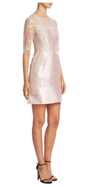 Marchesa roundneck lace dress in blush - Silk-blend dress in intricate lace detailing. Roundneck....