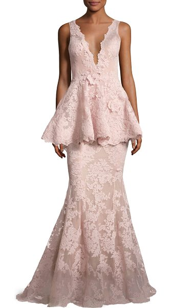Marchesa Sleeveless Plunging V-Neck Peplum Gown in blush - Marchesa corded lace gown with three-dimensional floral...