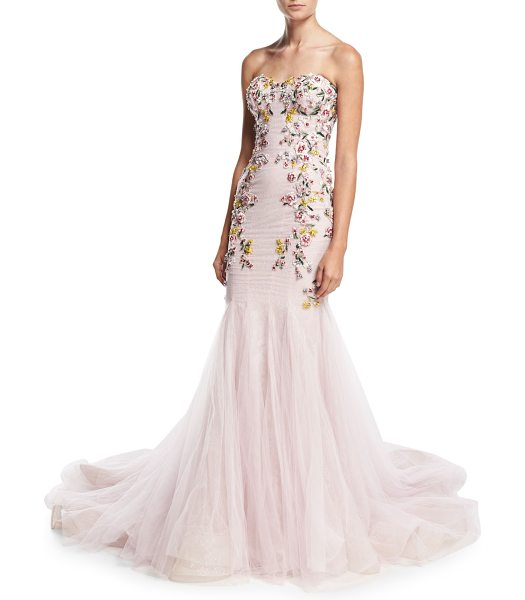 Marchesa Strapless Embroidered Mermaid Gown in blush - Marchesa floral-embellished tulle gown. Strapless...