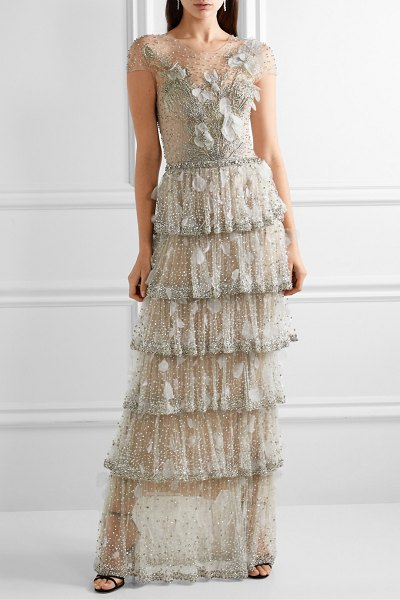 Marchesa tiered embellished tulle gown in stone