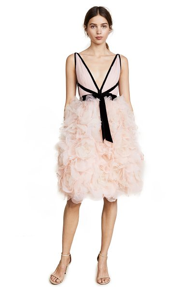 Marchesa v neck tulle cocktail dress in blush - Contrast velvet frames the deep V neck and back of this...