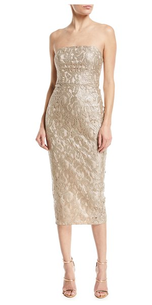 "Maria Bianca Nero Emily Strapless Metallic Lace Back-Ruffle Cocktail Dress in gold - Maria Bianca Nero ""Emily"" metallic lace dress Strapless..."