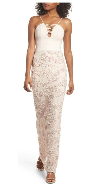 Maria Bianca Nero jessie strappy lace sheath gown in champagne - Delicate petals seem to float atop the lacy skirt of...