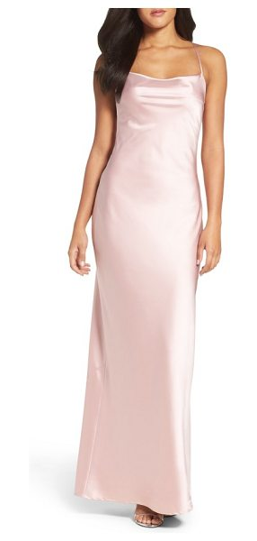 Maria Bianca Nero juliet satin gown in pink - Take a cue from cool '90s minimalism in this silky satin...