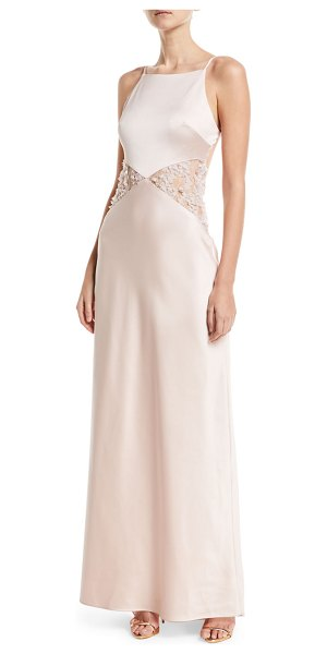 "MARIA BIANCA NERO Lana Lace-Insert Sleeveless Gown - Maria Bianca Nero ""Lana"" backless lace-insert gown. Halter..."