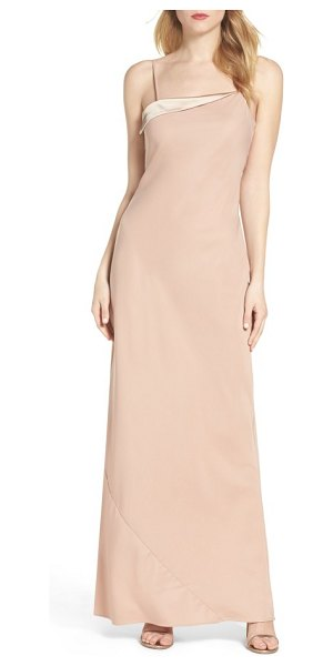 Maria Bianca Nero sandy a-line gown in nude - Bias-cut angles modernize a classically alluring...