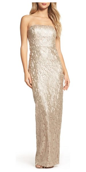 Maria Bianca Nero starla ruffle back strapless lace gown in gold - A flourish of ruffles and daring slit down the back...