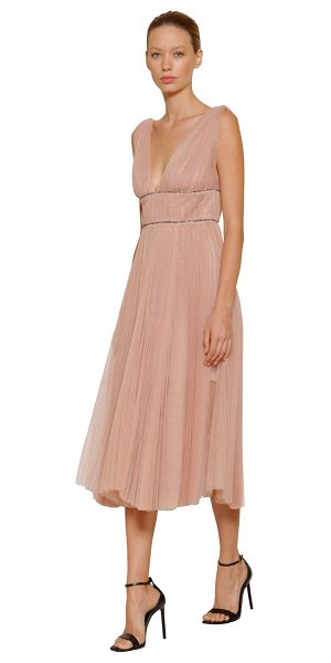 Maria Lucia Hohan Embellished & pleated tulle midi dress in pink - Deep V neckline. Sleeveless. Wide shoulder straps....
