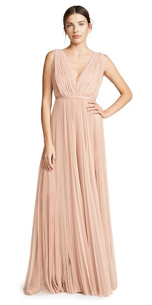 Maria Lucia Hohan leona maxi dress in nude - Fabric: Tulle Pleating detail through out Cinched...