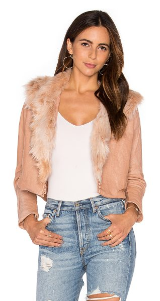 Maria Stanley Harlow Jacket with Faux Fur Collar in blush - Self: 100% linenFaux Fur Collar: 100% acrylicLining:...