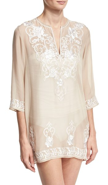 Marie France Van Damme Gigi Embroidered Silk Chiffon Tunic Coverup in nude - Marie France van Damme short tunic coverup in Gigi...