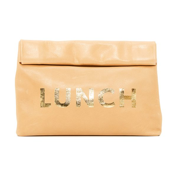 Marie Turnor lunch special clutch in washed brown - This leather Marie Turnor Accessories clutch imitates a...