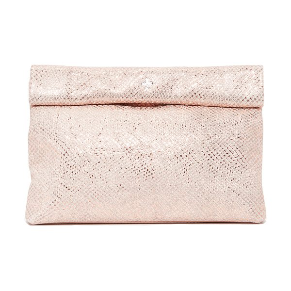 Marie Turnor sparkle lunch clutch in pink sparkle - This embossed, metallic leather Marie Turnor Accessories...