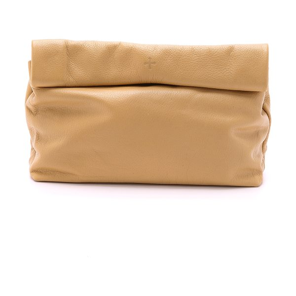 Marie Turnor the lunch clutch in sand - This leather Marie Turnor Accessories clutch imitates a...