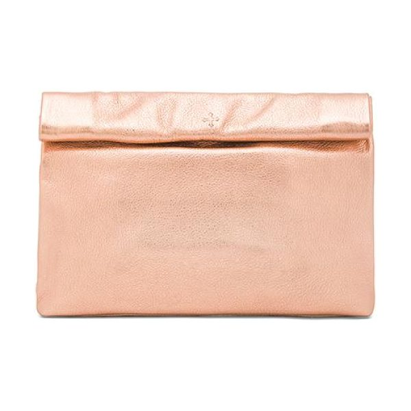 Marie Turnor Lunch clutch in metallic gold - Metallic leather exterior and lining. Measures approx...