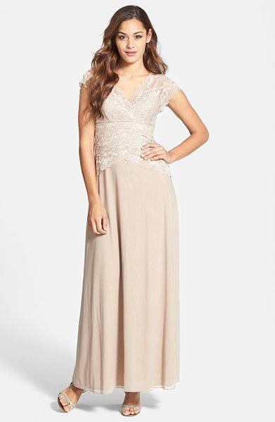 Marina cap sleeve lace bodice gown in taupe - For an element of sheer romance, tonal lace with...