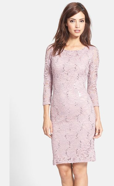 Marina embellished stretch lace sheath dress in mauve - Iridescent sequins cast luminous jewel tones across the...