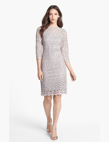 Marina metallic lace sheath dress in taupe - A gorgeous lace overlay awash in subtle metallic shimmer...