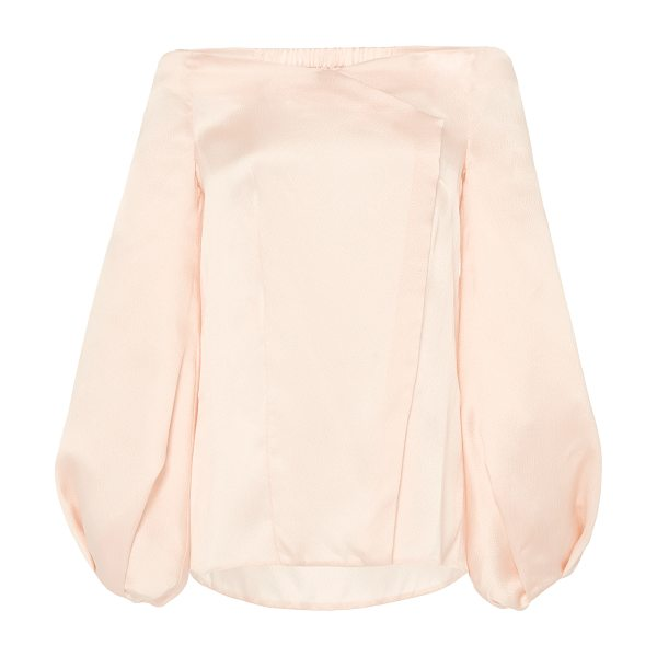 Marina Moscone Silk Off-Shoulder Blouse in pink - Rendered in silk this *Marina Moscone* top features an...