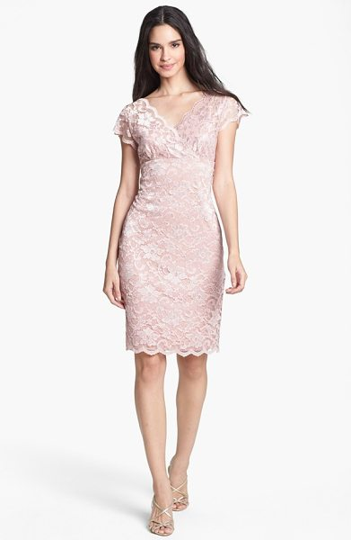Marina stretch lace sheath dress in blush - Delicate lace composes the elegant surplice bodice and...