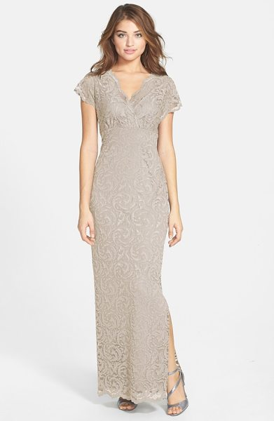 Marina surplice stretch lace gown in champagne