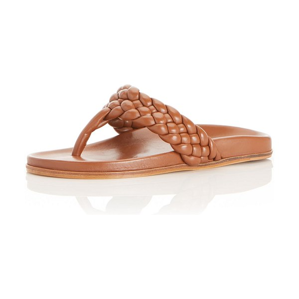 Marion Parke Carly Braided Napa Thong Sandals in camel