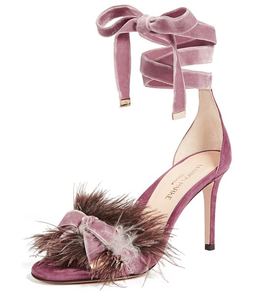 Marion Parke lainey feather sandals in china rose - Ostrich feather and a charming bow accent the vamp on...