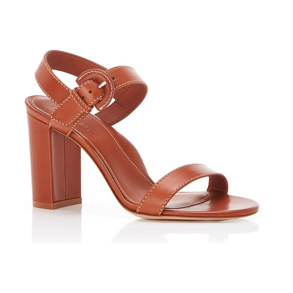 Marion Parke Lang Leather Block-Heel Sandals in camel