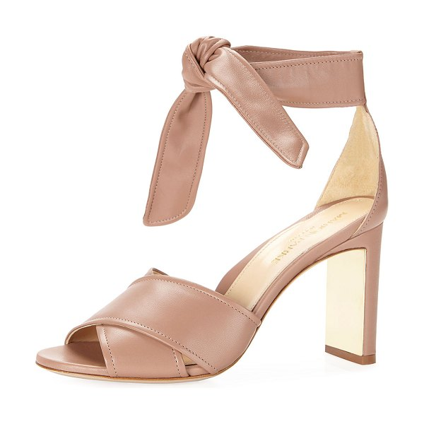 Marion Parke Leah Metallic Leather Ankle-Tie Sandals in blush