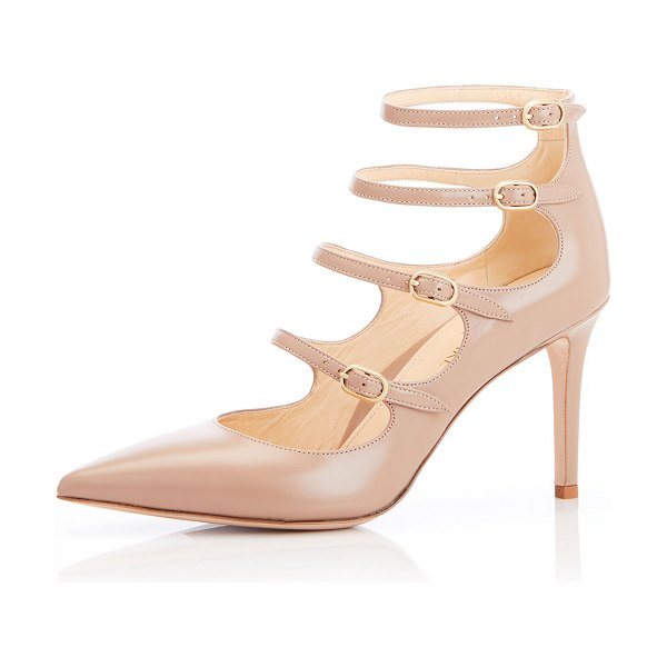 Marion Parke Mitchell Iconic Strappy Calf Leather Pumps in sand