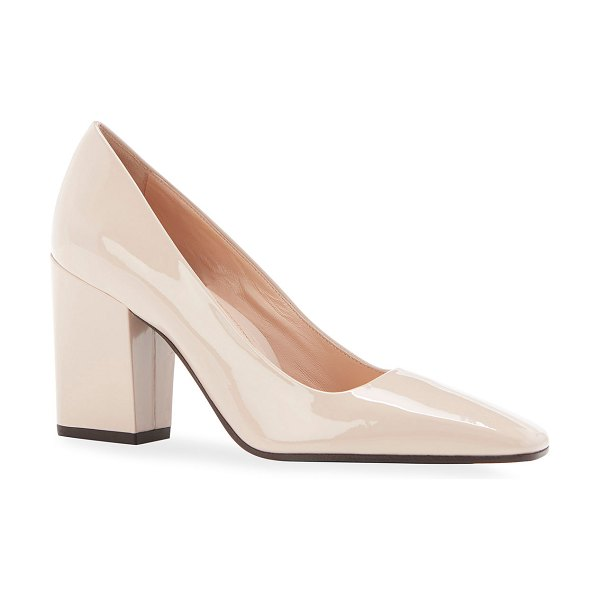 Marion Parke Whitney Patent Square-Toe Pumps in buff