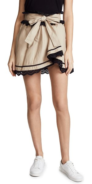 Marissa Webb ariella skirt in sandshell combo - Fabric: Mid-weight weave Contrast ruffle trim Attached...