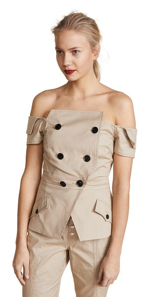 Marissa Webb chantel jacket in sandshell - Fabric: Canvas Waist-length style Off-shoulder neckline...