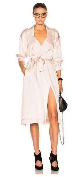Marissa Webb Corey Satin Crepe Overcoat in neutrals - 72% acetate 28% rayon.  Made in China.  Dry clean only. ...