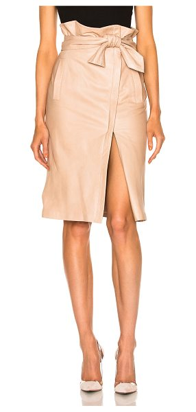 Marissa Webb Ella Leather Skirt in neutrals - Genuine leather.  Made in China.  Professional leather...