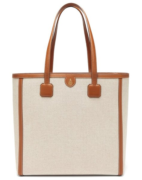 Mark Cross antibes large leather-trimmed canvas tote in brown multi