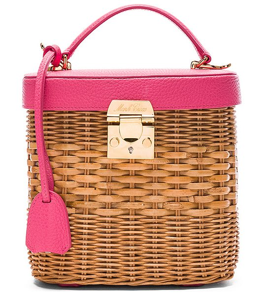 "Mark Cross Benchley Rattan Bag in neutrals,pink - ""Pebbled leather and woven rattan with red twill lining..."