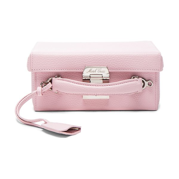 "MARK CROSS Grace Small Box Bag in pink - ""Pebbled leather with signature red leather lining and..."