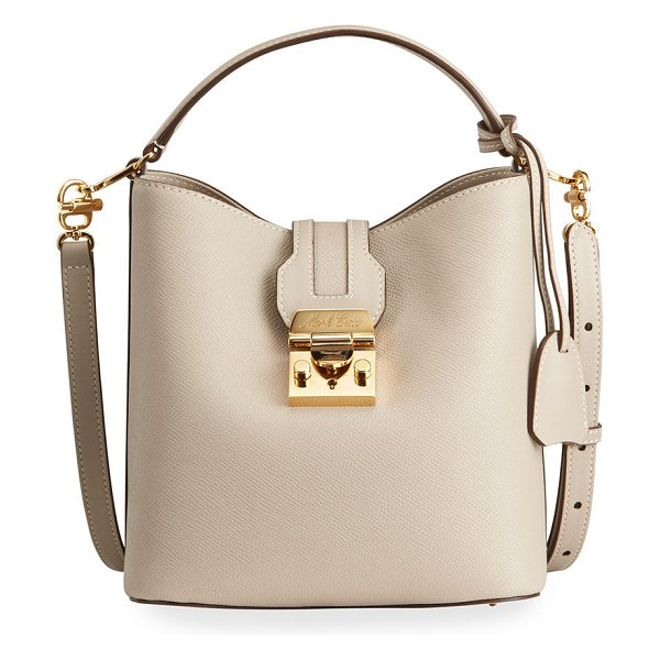 Mark Cross Murphy Small Soft Leather Bucket Bag in taupe