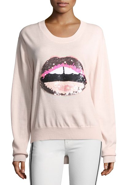 "Markus Lupfer Lara Lip Tonal Sequined Joey Jumper in blush - Markus Lupfer ""Joey"" sweater featuring iconic ""Lara Lip""..."