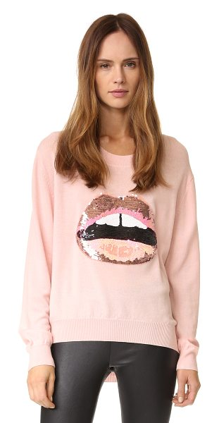 Markus Lupfer tonal sequin lara lip joey sweater in blush - Mixed tones lend dimension to the sequined lip design on...