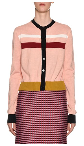 Marni Button-Front Striped Wool Cardigan in light pink