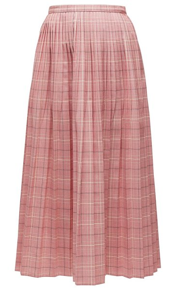 Marni checked pleated midi skirt in pink multi