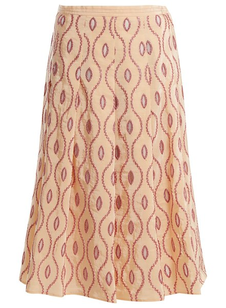 Marni embroidered-eyelet a-line midi skirt in pink multi